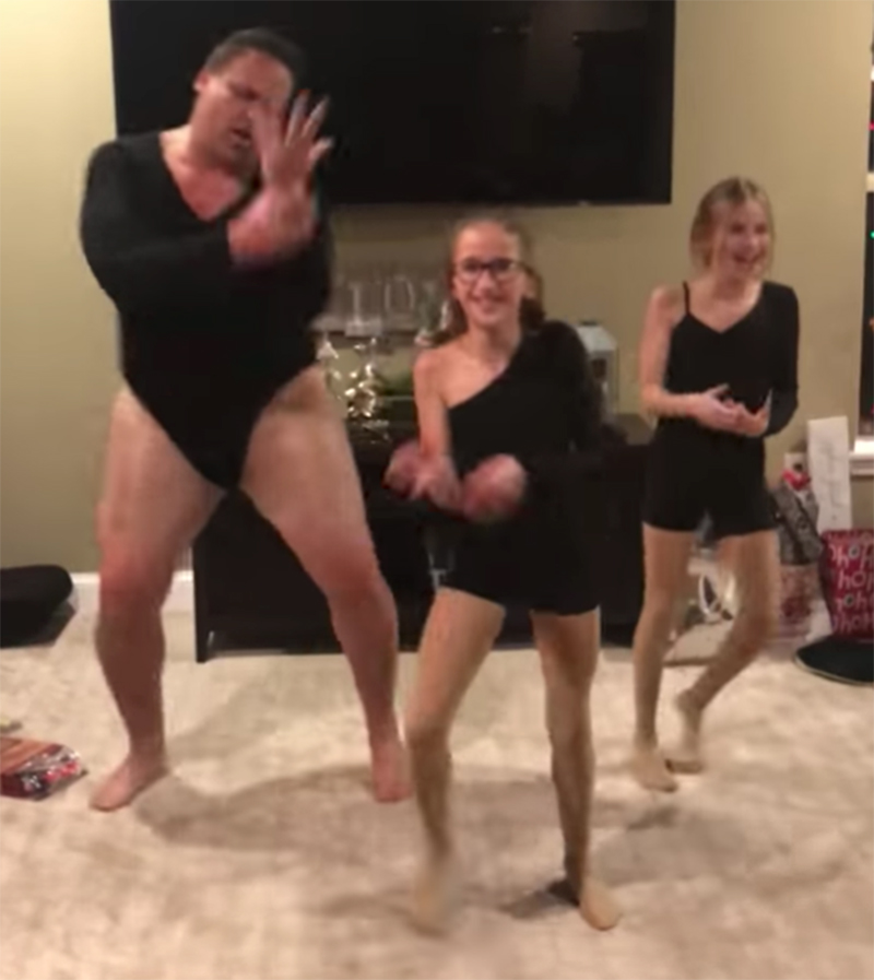 Dad and daughters dance