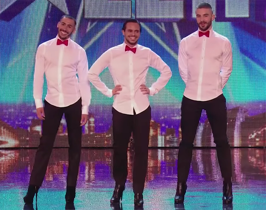 men dance in high heels
