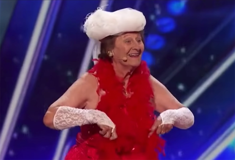90-year-old woman dances