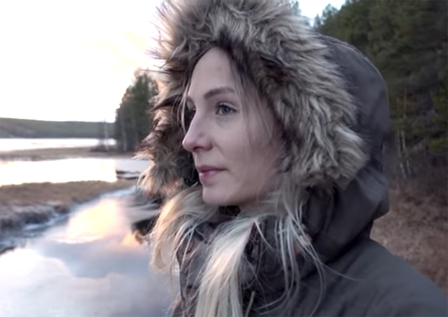 Swedish woman defies cold winter