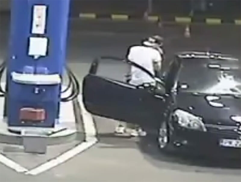 Idiot in a gas station
